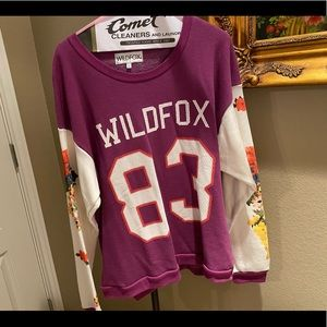 Wildfox Purple Floral Sleeve Sweatshirt Top - L